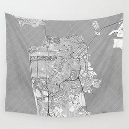 San Francisco Map Line Wall Tapestry