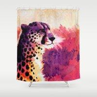 cheetah Shower Curtains featuring Cheetah by Fallen Apple Designs
