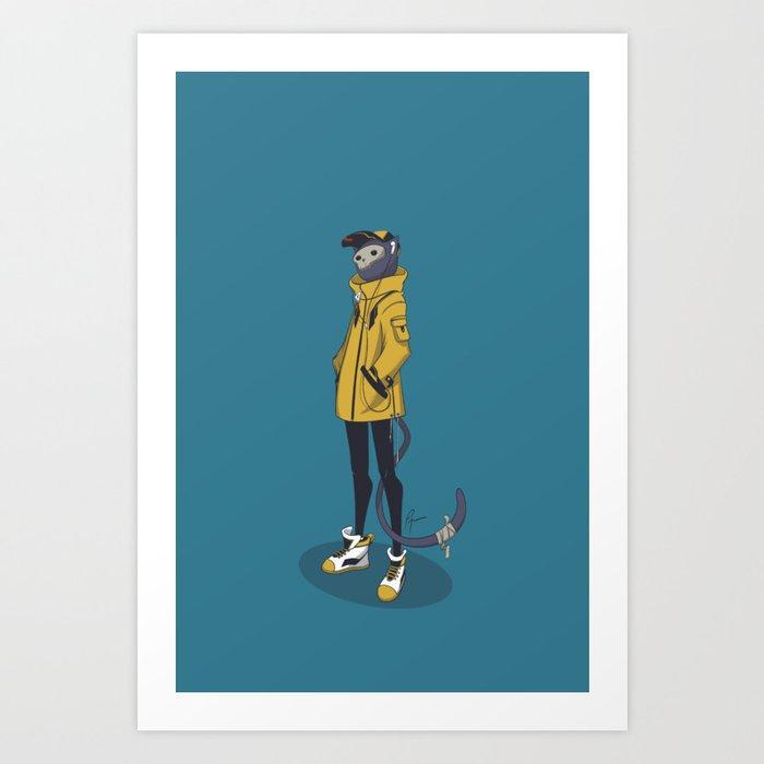 Skull Mask Cat Art Print