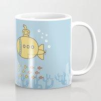 yellow submarine Mugs featuring Yellow Submarine by Brenda Figueroa Illustration