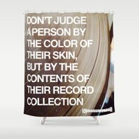 record Shower Curtains featuring Vinyl Record by XvinyljunkyX
