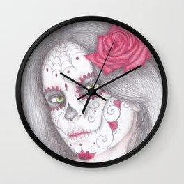 Dia De Los Muertos - Rose Wall Clock