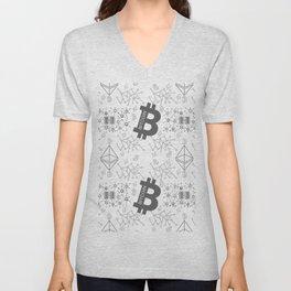 Blockchain cryptocurrency pattern Unisex V-Neck