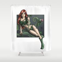 poison ivy Shower Curtains featuring Poison Ivy by Tash O'Toole