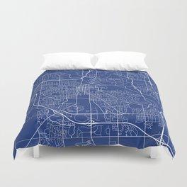 Ann Arbor Map, USA - Blue Duvet Cover