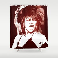 tina crespo Shower Curtains featuring Tina - Pop Art by William Cuccio aka WCSmack