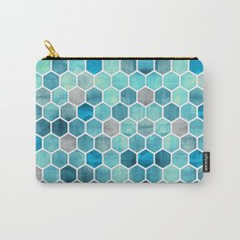 Blue Ink - watercolor hexagon pattern Carry-All Pouch