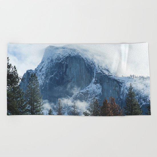 Ice-capped Half Dome at Sunrise | Yosemite National Park, California Beach Towel