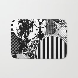 Black And White Choas - Mutli Patterned Multi Textured Abstract Bath Mat