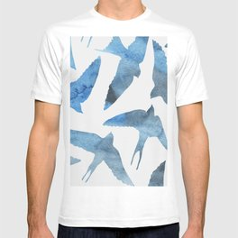 Watercolor birds - sapphire ink T-shirt