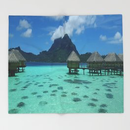 Bora Bora Bungalow Throw Blanket
