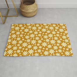 Retro Groovy Daisy Flower Power Vintage Pattern in Ivory , Ochre Orange and Yellow , Beautiful Oil Texture Rug