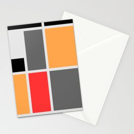 Mondrianista orange red black and gray Stationery Cards