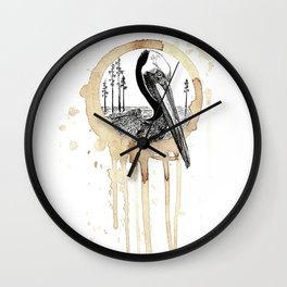 Coffee Stained Brown Pelican-Louisiana Series Wall Clock