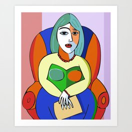 Woman With A Kindle Art Print