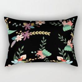 Floral pattern black Rectangular Pillow