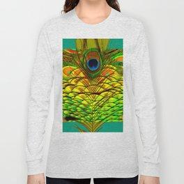 TEAL PEACOCK FEATHERS GOLDEN  DESIGN Long Sleeve T-shirt