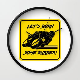 Lets Burn some Rubber! High Speed Motorcycle Racer Yellow Caution Wall Clock