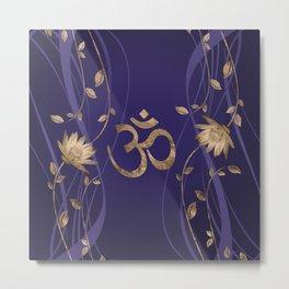 Om Symbol Golden Lotus Flowers on purple Metal Print