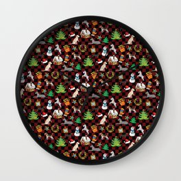 Christmas Dogs and Christmas Trees on Buffalo Plaid Wall Clock