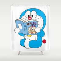 comic book Shower Curtains featuring Doraemon Reading Comic Book by Timeless-Id