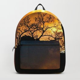 Sunset Golden Clouds Silhouette Bare Trees Backpack