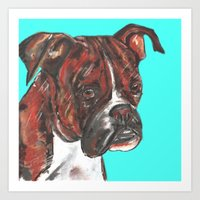 Boxer printed from an original painting by Jiri Bures Art Print