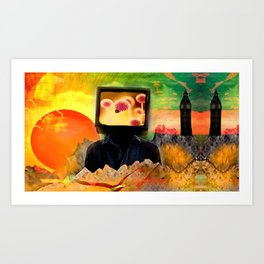 """Talking Head In The Land Of The Two Towers And Setting Sun"" Art Print"