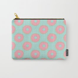 Pink Doodle Donuts Pattern on an aqua blue background Carry-All Pouch