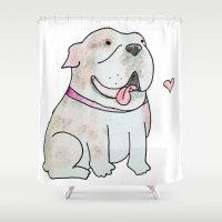 bulldog Shower Curtains featuring Bulldog by Daynasdoodleydoos
