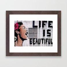 Life is Beautiful Banksy Mr Brainwash graffiti street art Framed Art Print