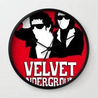 velvet underground Wall Clocks featuring VELVET UNDERGROUND R by zzglam