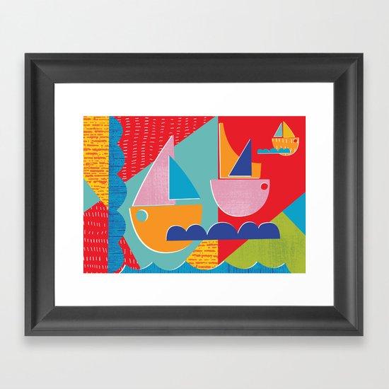 3 Sail Boats at Sea Framed Art Print