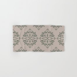 Moody Green Neutral Beige Damask Scroll Pattern 2021 Color of the Year Contemplative and Stucco Hand & Bath Towel