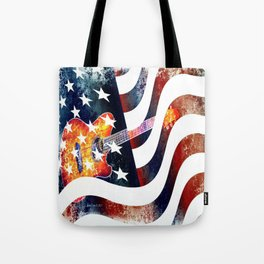 Country Music Guitar And American Flag By Annie Zeno  Tote Bag