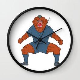 Bulldog Footballer Celebrating Goal Cartoon Wall Clock