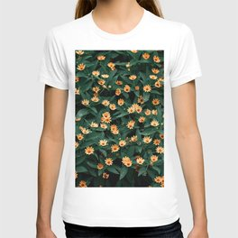 Top view of green leaves with yellow flowers- beautiful natural photography T-shirt