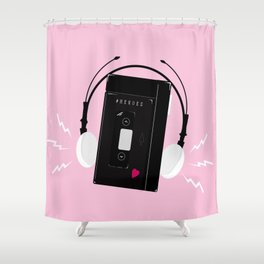 I hear synthwave music Shower Curtain