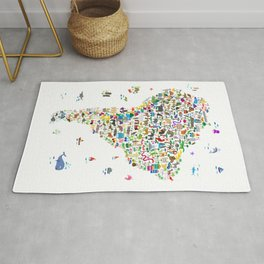 Animal Map of South America for children and kids Rug