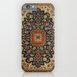 Central Persia 19th Century Authentic Colorful Dark Blue Red Tan Vintage Patterns iPhone Case