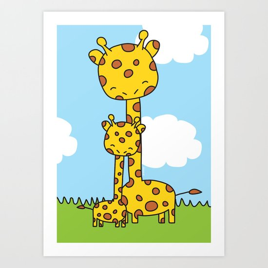 Giraffe Hugs Art Print