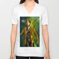 mockingjay V-neck T-shirts featuring The Mockingjay by Paulo Fodra