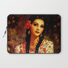 Jesus Helguera Painting of a Mexican Calendar Girl with Braids Laptop Sleeve