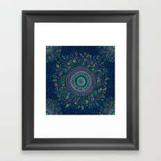 Midnight Garden Mandala Framed Art Print