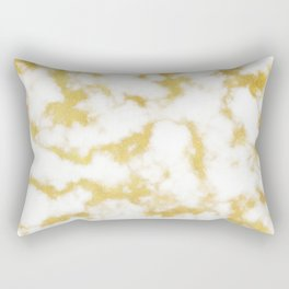 Glitzy Gold Veins on Creamy, Marshmallow Marble Rectangular Pillow