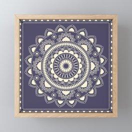 Boho Indian medallion Blue Framed Mini Art Print