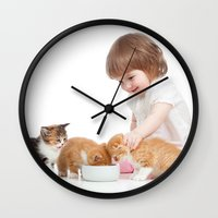 child Wall Clocks featuring Child by iD70my