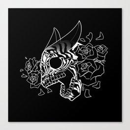 Skull 'n' Roses (NightmareNetty-Black&White) Canvas Print