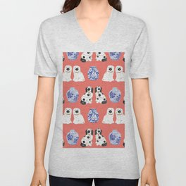 Staffordshire Dogs + Ginger Jars No. 3 Unisex V-Neck