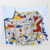 san francisco Wall Tapestries featuring San Francisco by Mondrian Maps